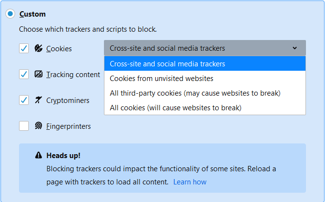 Disable third-party cookies in Firefox to stop some types of tracking by advertisers