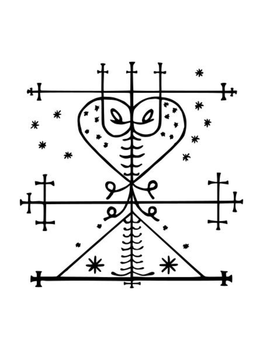 Traditional Manman Brigit Veve, public domain.