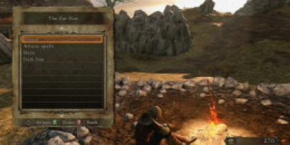 The Far Fire (second, of the game) bonfire at Majula. Bonfires allow the hero to fast travel. Fast travel back to this bonfire to speak to the Emerald Herald who will level up the character.
