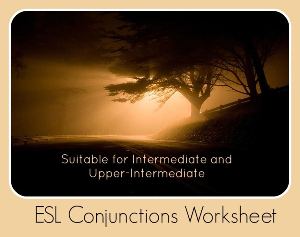 Esl Conjunctions Worksheet For Intermediate And Upper