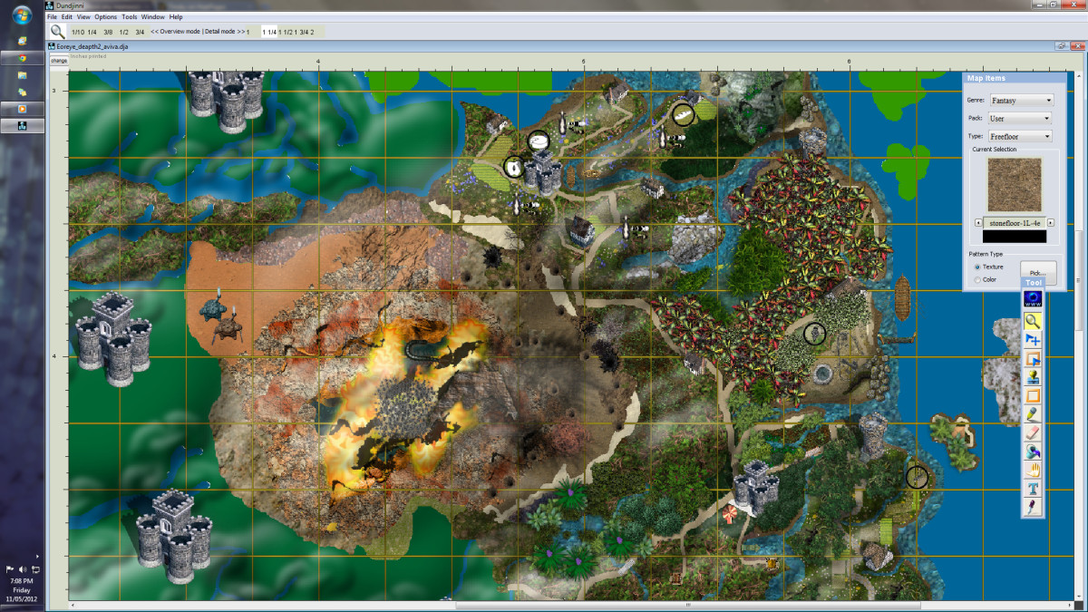 Map Creation for Fictional Worlds   HobbyLark Screen shot of Fantasy Map Making Software  Dundjinni   a map in creation