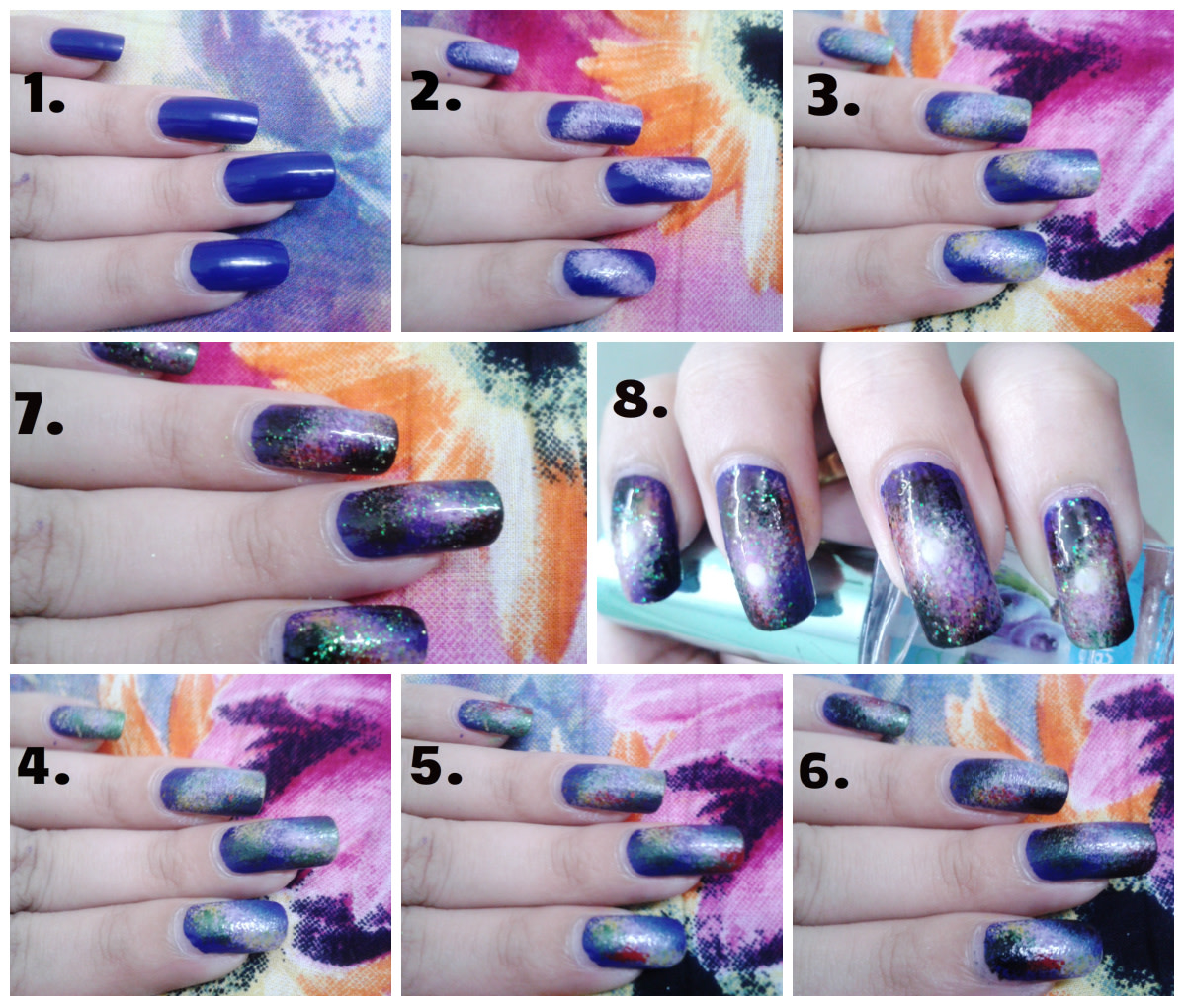 Galaxy Nails Painted With A Sponge