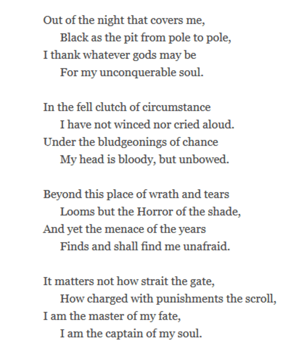 Ysis Of Poem Invictus By W E Henley