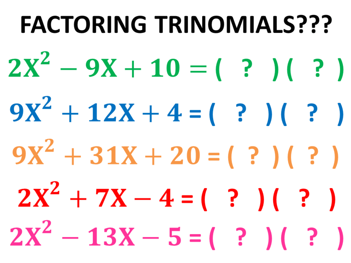 Ac Method Factoring Quadratic Trinomials Using The Ac