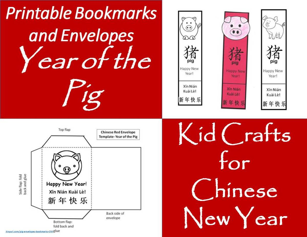 Printable Envelopes And Bookmarks For Year Of The Pig Kids Crafts For Chinese New Year