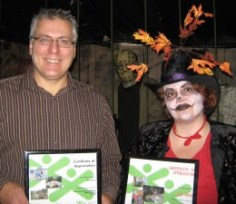 Presenting a thank you certificate to a local volunteering business man who helped with the Haunted House Fundraiser for our local Boys & Girl's Club. Source: © I Am Rosa