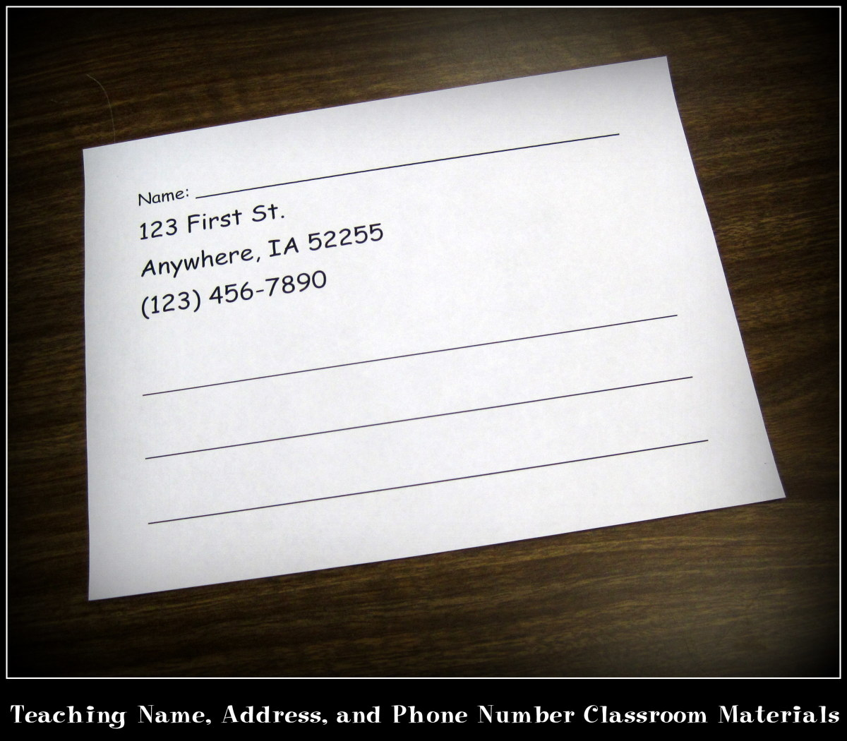 Teaching Name Address And Phone Number Classroom