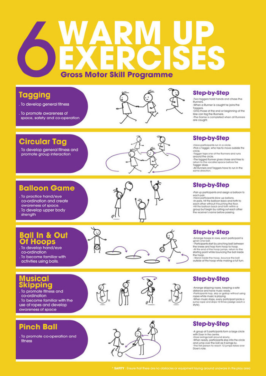 Colorful poster in yellow and purpose showcasing different stretches for warm up