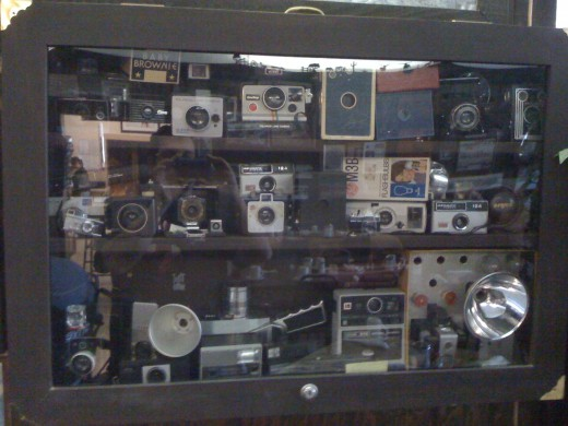 Display case of cameras. If you look carefully you can see I took this 'shot' with my iPhone. : )