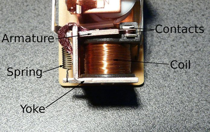 A common electromechanical relay.