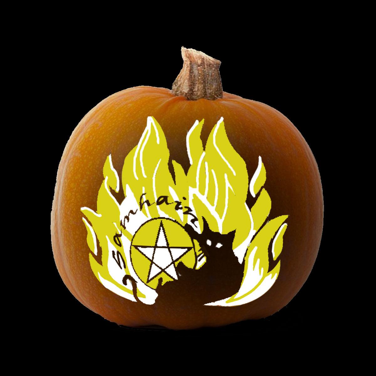 More Samhain Pagan Pumpkin Carving Printable Stencils