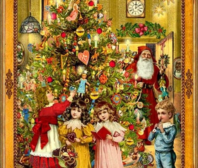 Victorian Greeting Card Christmas Tree Victorian Christmas