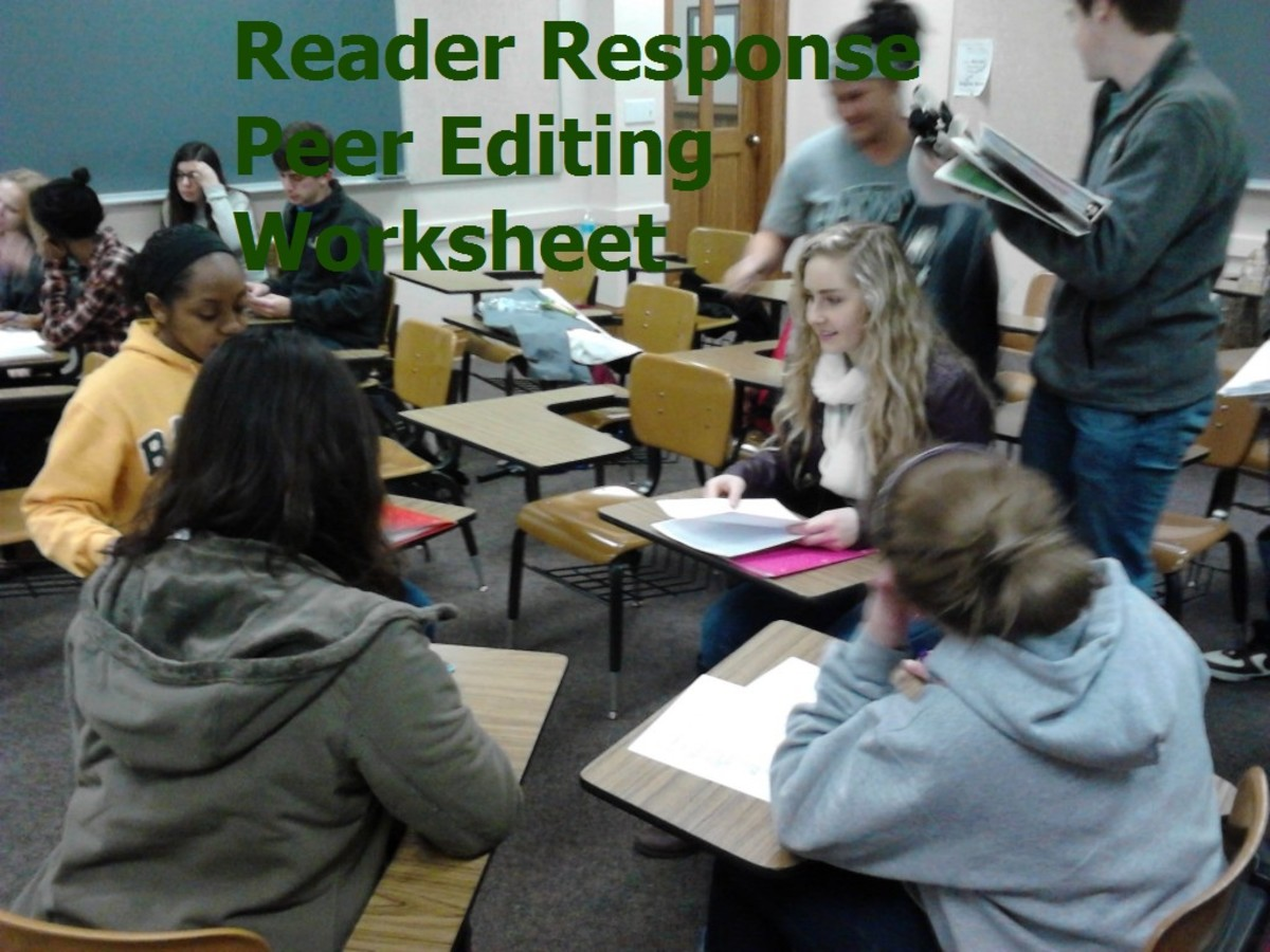 Reader Response Peer Editing Worksheet