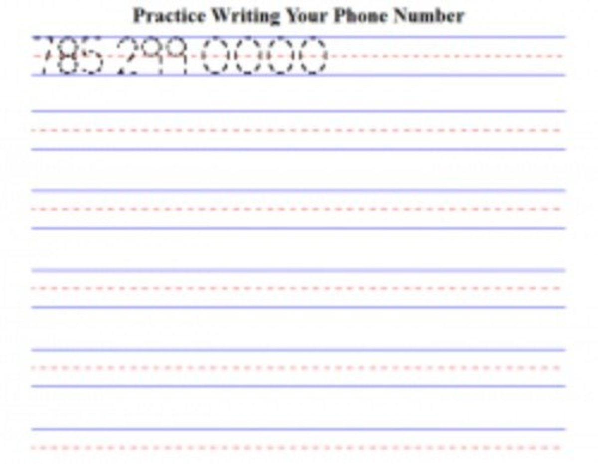 Free Worksheets For Kids To Practice Writing Their Phone