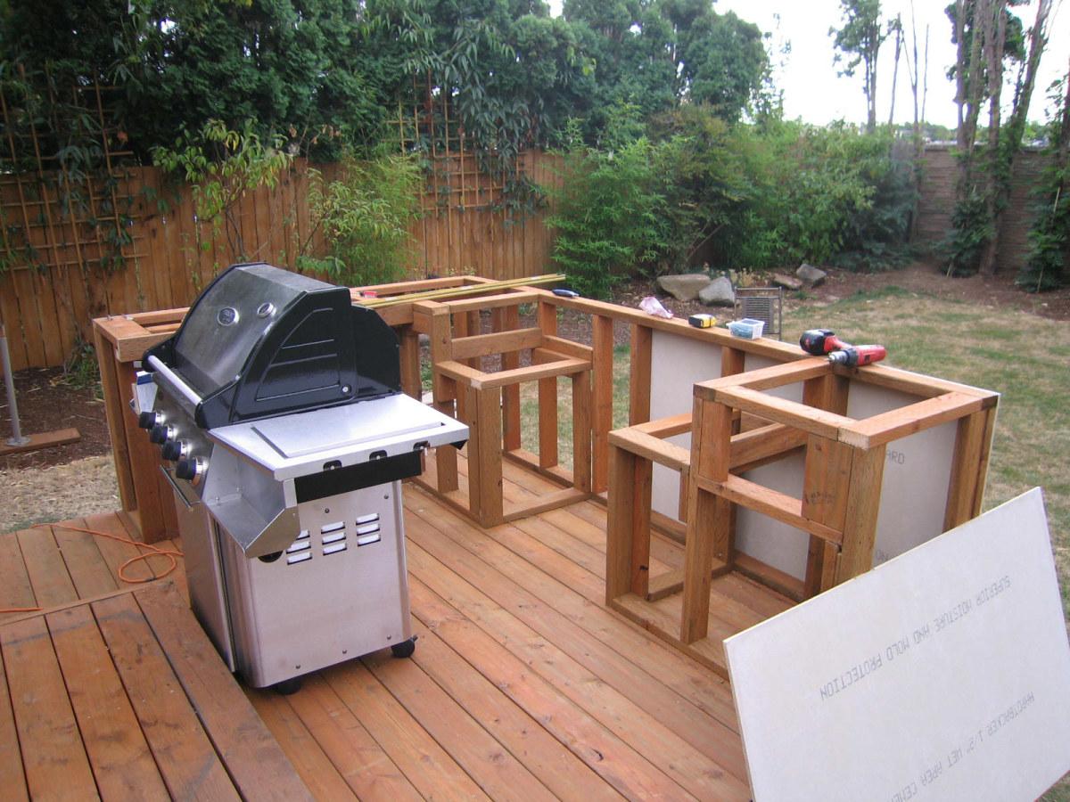 Building outdoor kitchen bbq having fun and saving ... on Diy Patio Grill Island id=47417