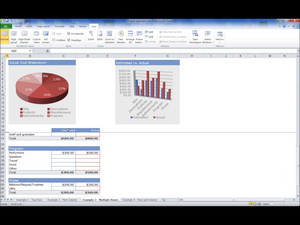 How To Freeze A Row In Microsoft Excel