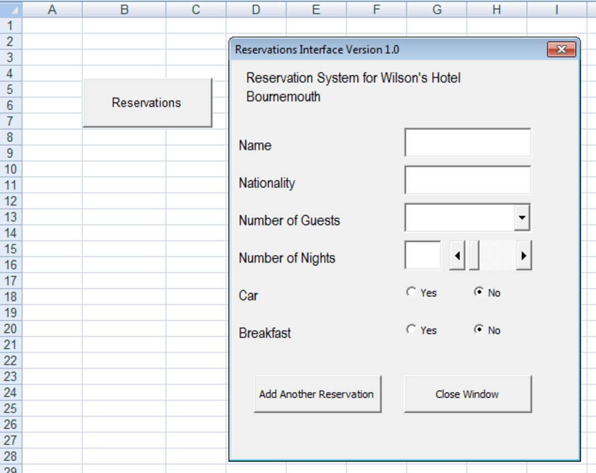 User Interface Design Using A Userform In Excel And