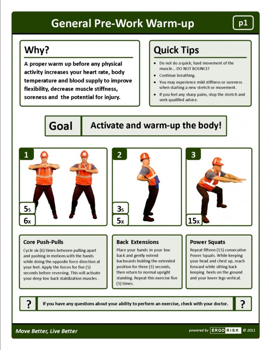 Stretching Poster with Man in Orange Shirt and Construction Hat