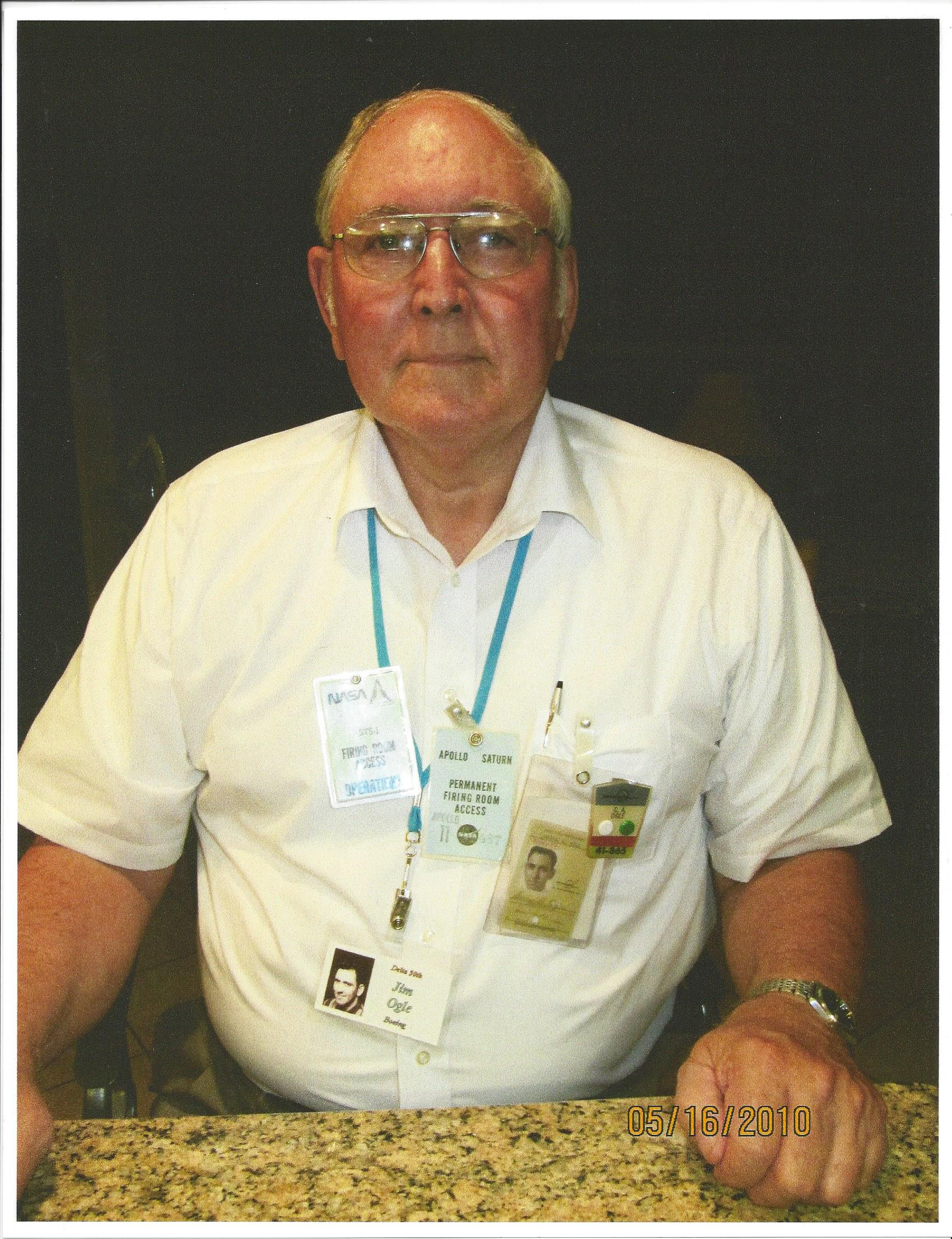 Jim with his old badges preparing to attend the event commemorating the 50th anniversary of the MDAC Delta launch vehicle program. Jim worked the first 12 launches that used a retired Douglas Thor missile as the first stage booster rocket. The first Delta mission was a NASA payload called ECHO in 1960 which was a 100-foot diameter balloon. Eleven more NASA payloads were to follow.