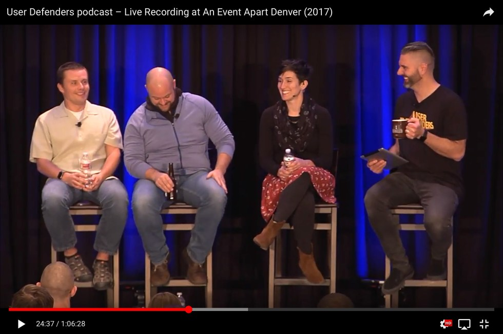 Live User Defenders podcast Recording at An Event Apart Denver with Chris Coyier, Luke Wroblewski, and Cassie McDaniel
