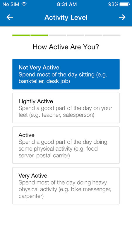Myfitnesspal Activity Level | Kayafitness co