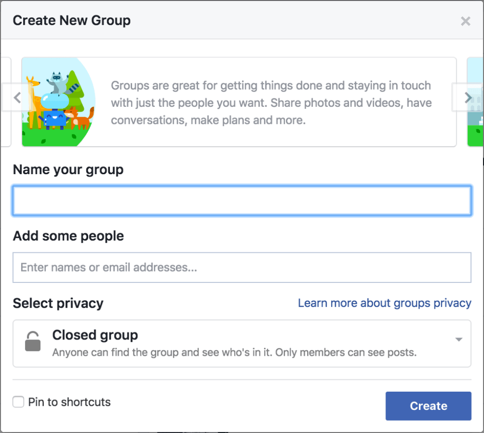 Creating a Facebook Group: First step, creating a Group on Facebook