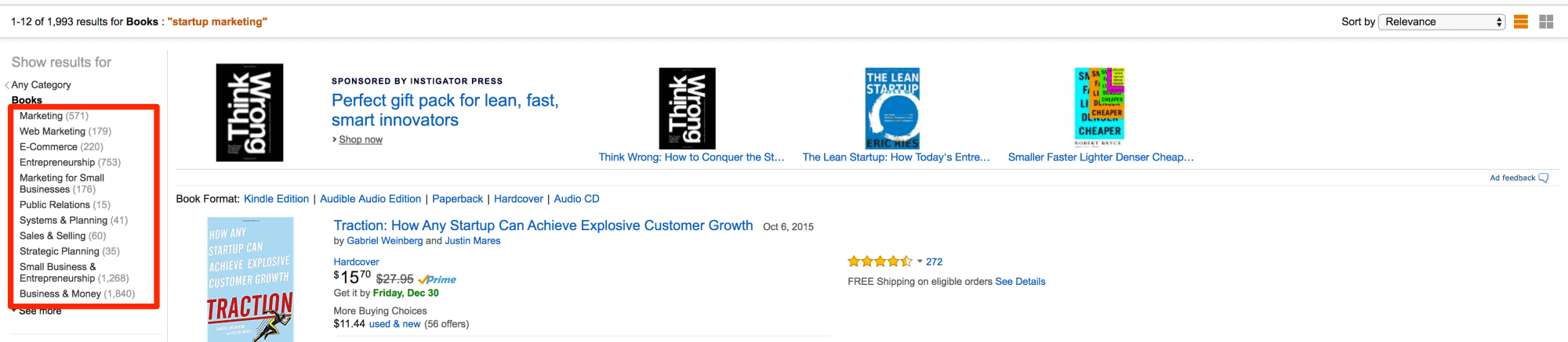 Browsing through Amazon sub categories to find content ideas