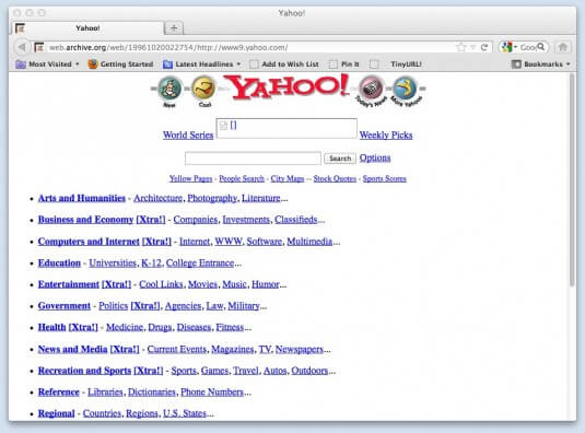 The Yahoo front page on Oct. 20 1996