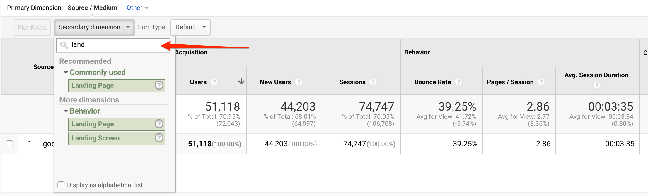 "add ""landing page"" as a secondary dimension in Google Analytics"