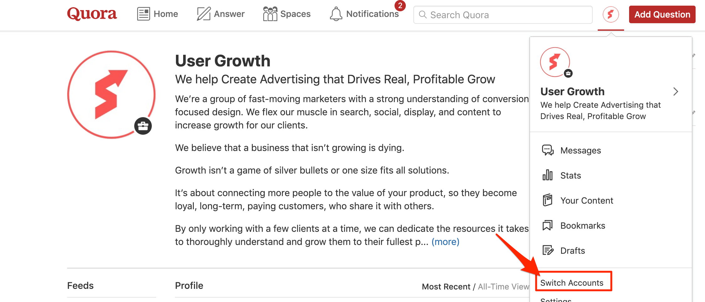 "Switching between your business and personal accounts on Quora using the ""Switch Accounts"" option"