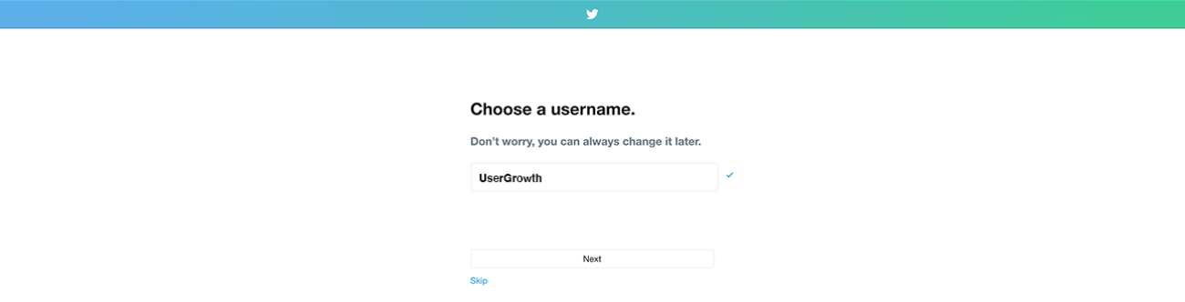 Step 3 in creating a Twitter account: choosing a username