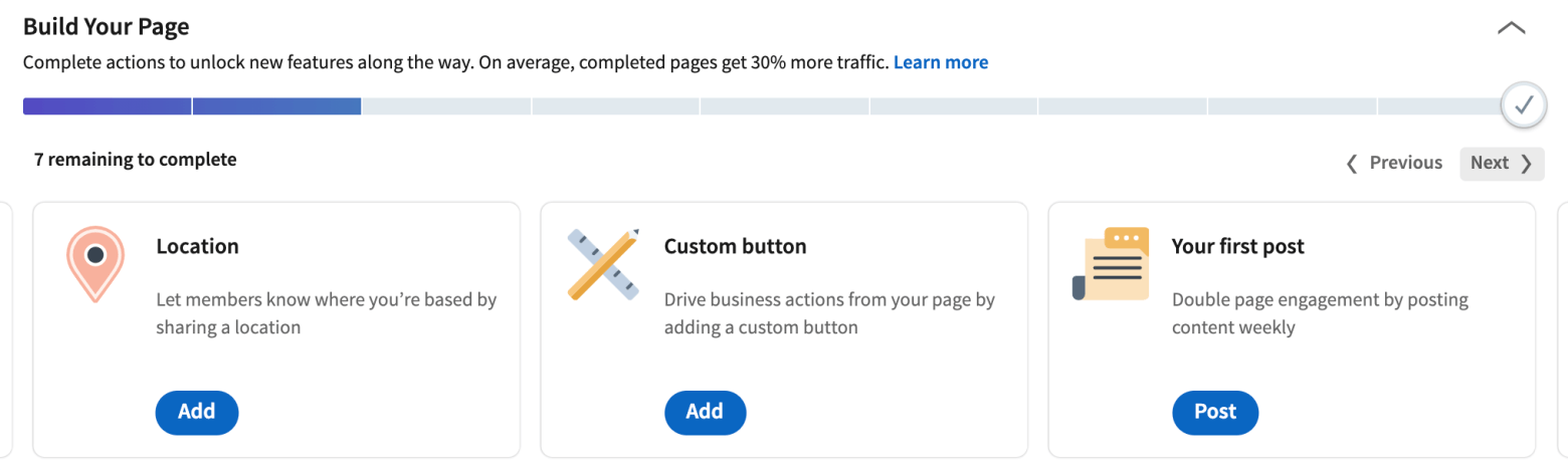 Steps to complete your LinkedIn company profile - on average, completed pages get 30% more traffic