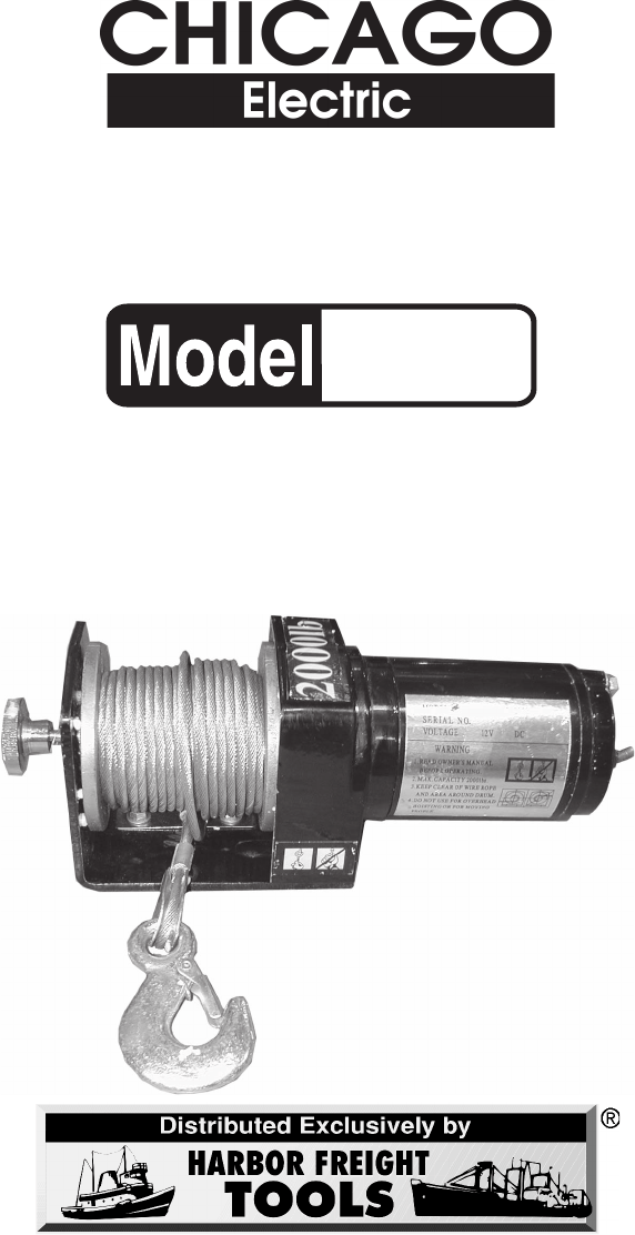 Chicago Electric 90282 Users Manual Winch