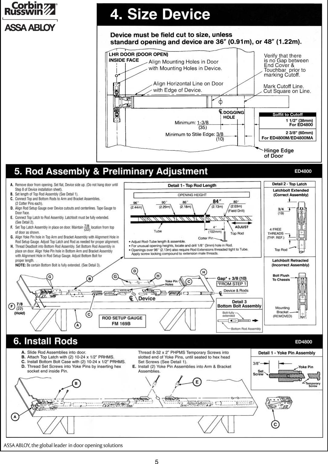 Panic Bar Repair Parts