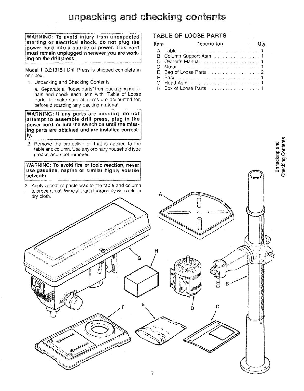Craftsman User Manual 15 Floor Drill Press