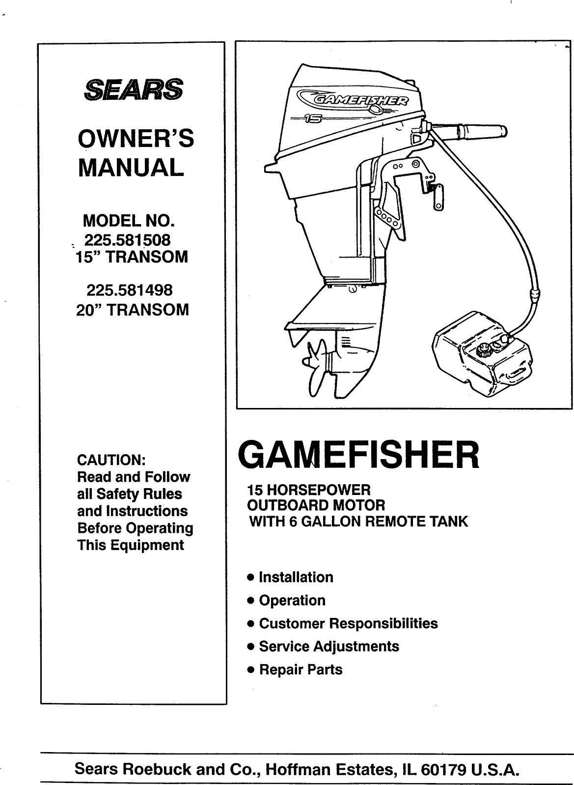 Craftsman User Manual Gamefisher 15 H P 20