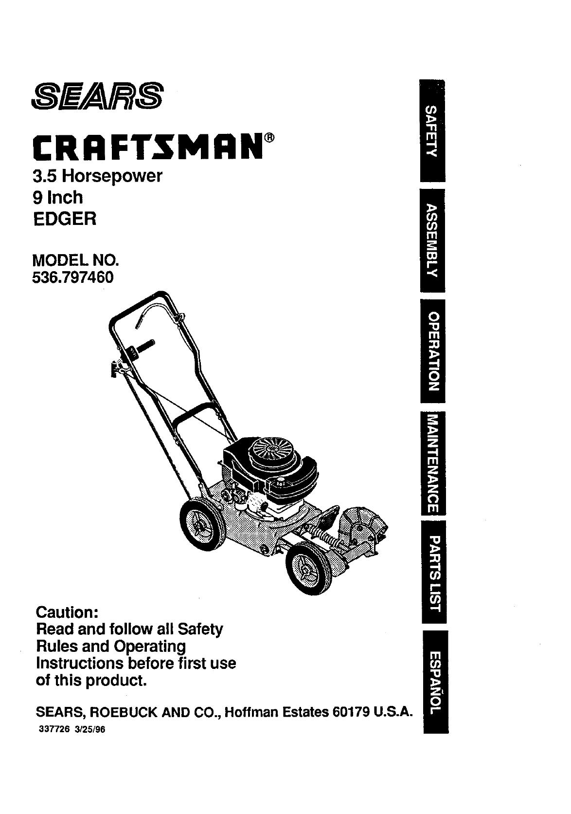 Craftsman User Manual 3 5 Hp 9 Edger Manuals And Guides L