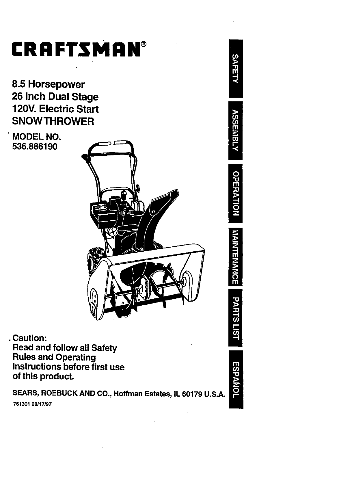 Craftsman User Manual 8 5 Hp 26 Dual Stage 120v