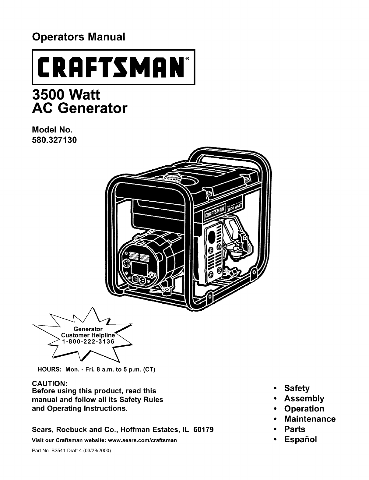 Craftsman User Manual Watt A C Generator