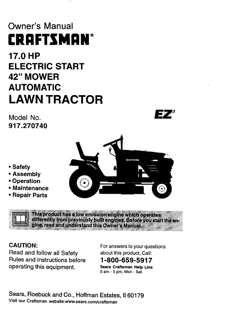 User Manual 17 0hp 42 Mower