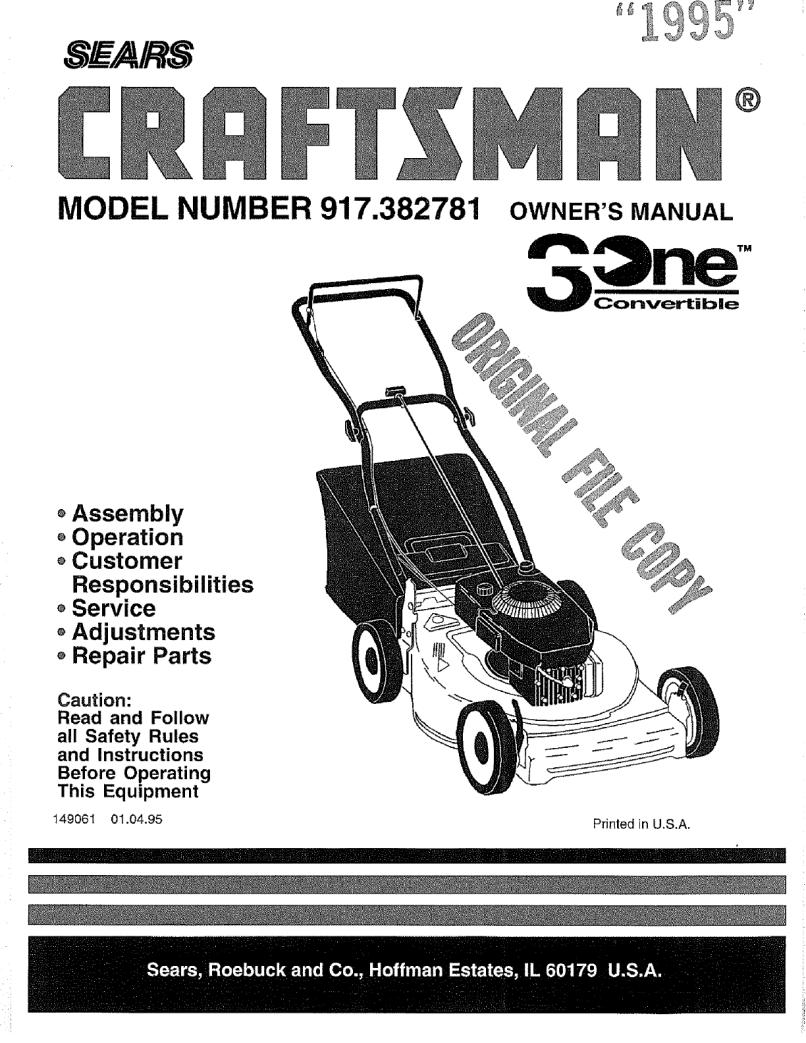 Craftsman Lawn Mower Model Number 917