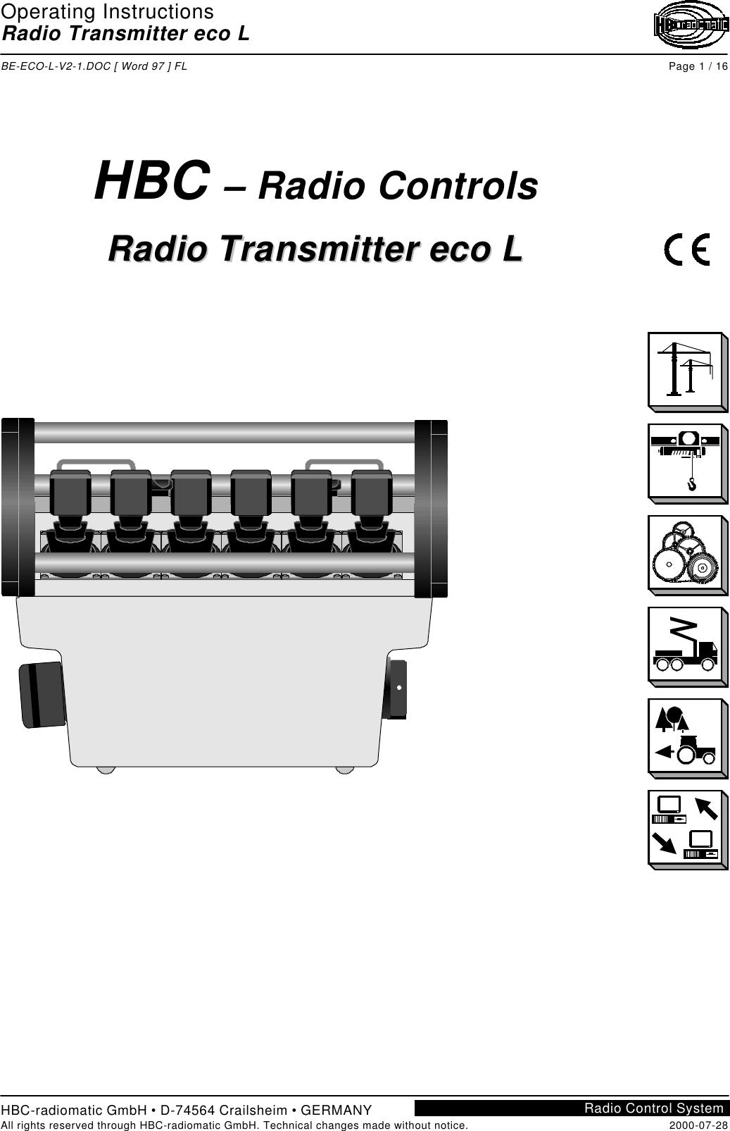 Hbc Radiomatic E Crane Remote Control Transmitter