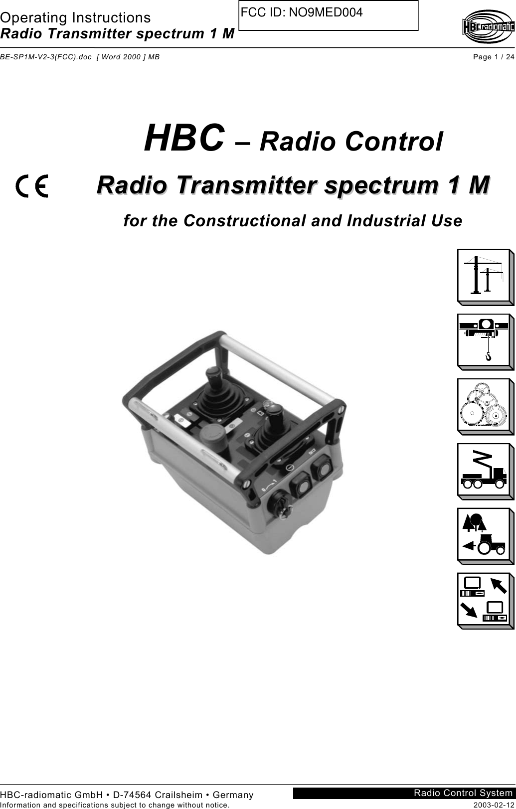 Hbc Radiomatic Med004 Radio Transmitter Spectrum 1 M User