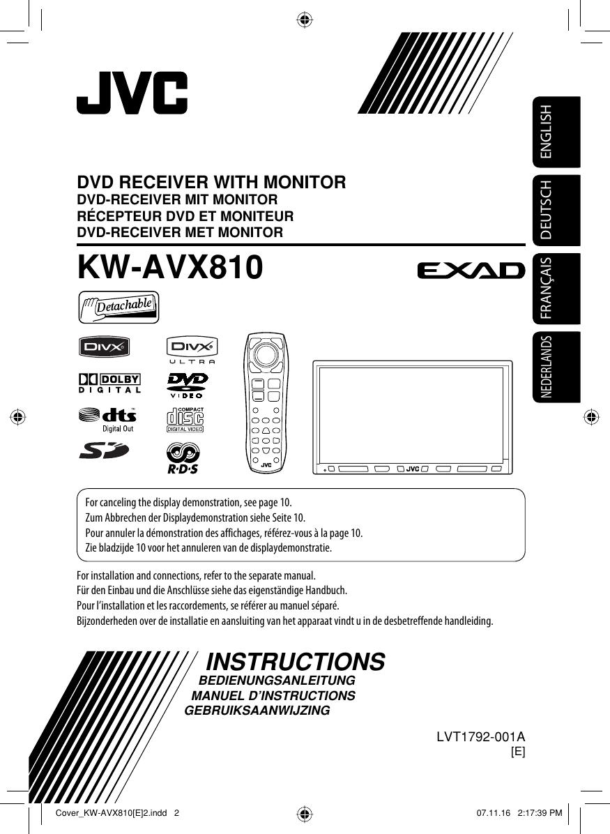 Jvc Kw Avx810e Avx810 E Instructions User Manual Lvt1792
