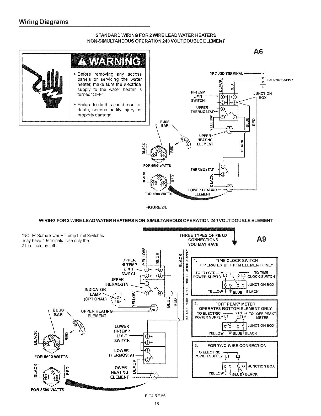 Electric Water Heater 52 Gal Watt 2 Element Wiring