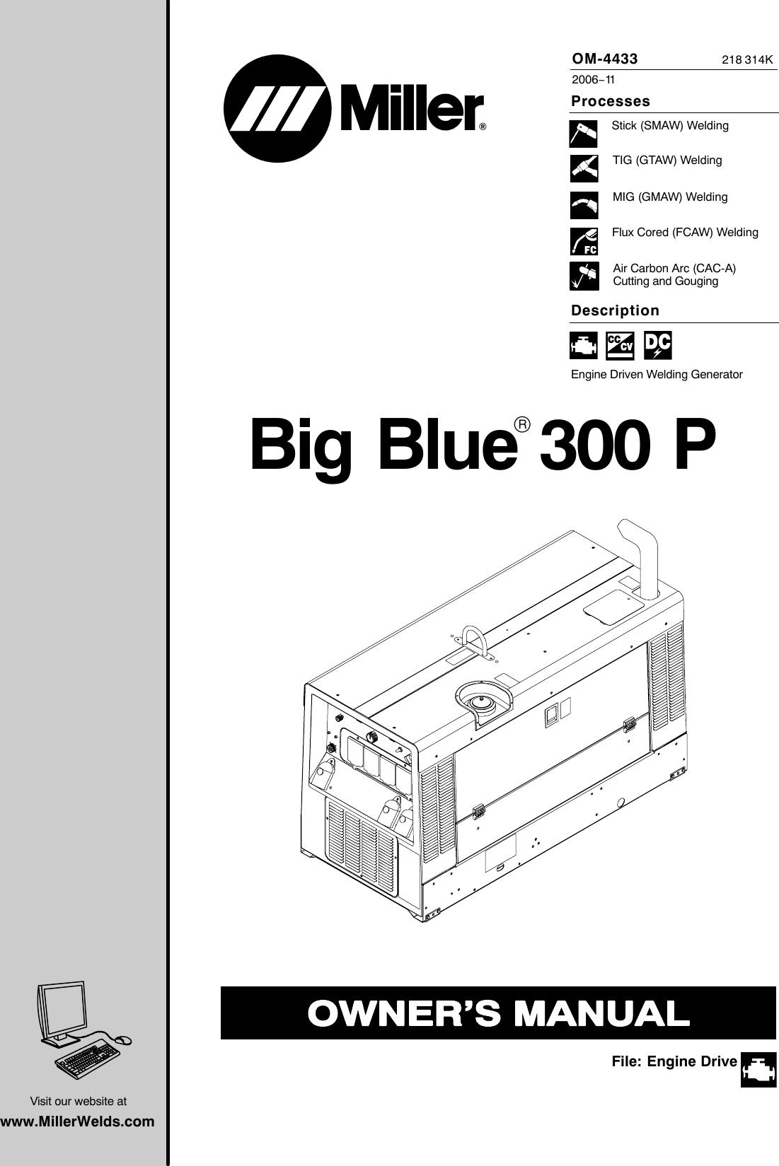 Miller Electric Big Blue 300 P Users Manual O K Mil