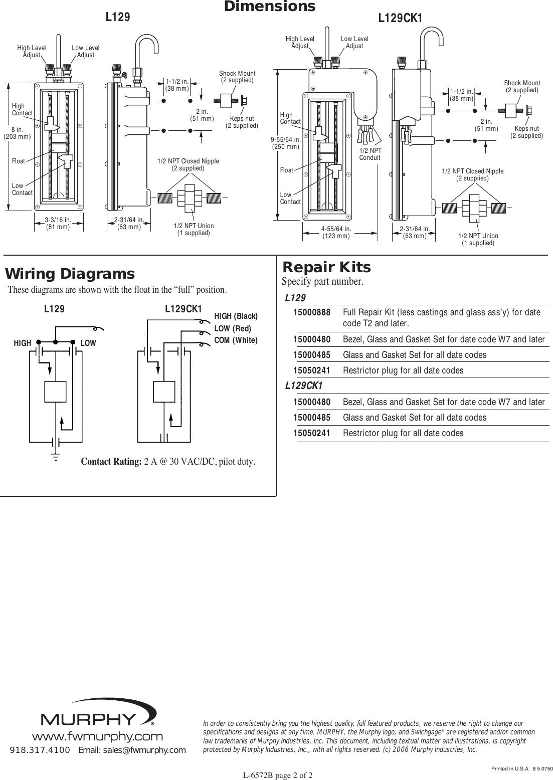 Wiring Diagram Murphy Swichgage