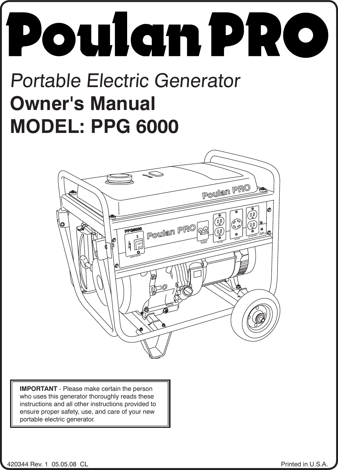 Poulan Ppg Users Manual Om Ppg 05 Generators