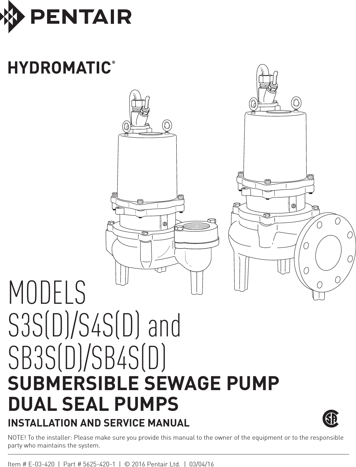 Page 1 of 12 149588 2 myers s4sd sb4sd installation manual user