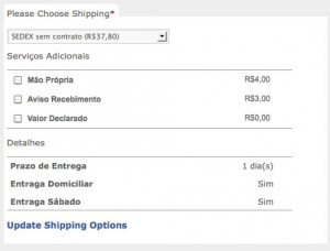 Correios Shipping Options